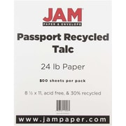 """JAM Paper® 8 1/2"""" x 11"""" Recycled Paper, Talc, 500 Sheets/Ream"""