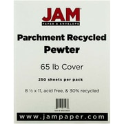 """JAM Paper® 65 lb. 8 1/2"""" x 11"""" Parchment Recycled Cardstock, Pewter, 250/Pack"""