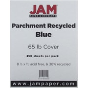 """JAM Paper® 65 lb. 8 1/2"""" x 11"""" Parchment Recycled Cover Cardstock, Blue, 250 Sheets/Pack"""