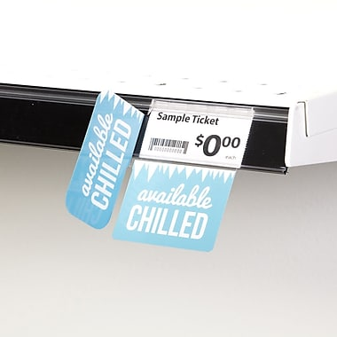 KostklipMD (S513-107214) – Coll. signature « Available Chilled », pancarte angle droit ShelfTalkerMC, 1,25x2,5 po, 2/2, 25/paq.