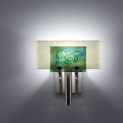 WPT Design Dessy 1 Light Wall Sconce; Mosaic Green / Flat Back Snow
