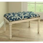 123 Creations Coastal Upholstered & Wood Bench; Navy