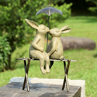 SPI Home Bunny Lovers on Bench Statue WYF078276761485