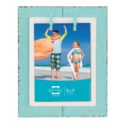 Prinz Beach Brights Distressed Plank w/ Clothespins Wooden Picture Frame; Blue