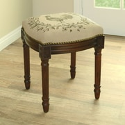 123 Creations Rooster Linen Upholstered Vanity Stool w/ Nailhead