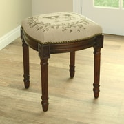 123 Creations Cow Linen Upholstered Vanity Stool w/ Nailhead