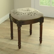 123 Creations Elk Linen Upholstered Vanity Stool with Nailhead