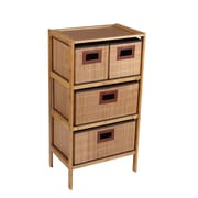 Household Essentials Bamboo 4 Drawer Storage Chest