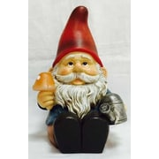Hi-Line Gift Ltd. Gnome Sitting with Watering Can and Glowing Mushroom Statue