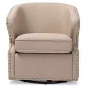 Wholesale Interiors Baxton Studio Finley Upholstered Swivel Arm Chair; Beige