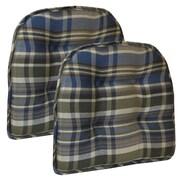 Klear Vu Gripper Tufted Chair Cushion (Set of 2); Blue