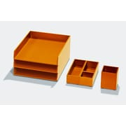 Bindertek Bright Wood Desk Organizing System, Essential Storage Set, Orange (BTSET2-OR)