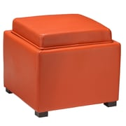 Cortesi Home Mavi Tray Top Storage Ottoman; Orange