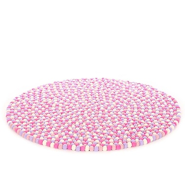 Walk On Me Happy as Larry Marshmallow Felt Ball Kids Rug; Round 5'
