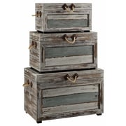 Crestview Nantucket 3 Piece Weathered Wood Trunk Set