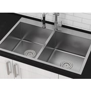 Ancona Master Series 33'' x 22'' Top Mount Double Bowl Kitchen Sink