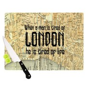 KESS InHouse London Type by Alison Coxon Map Cutting Board; 0.5'' H x 15.75'' W x 11.5'' D
