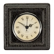 Prinz Burton Resin Clock w/ Croco Pattern; Antique Black