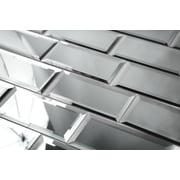 Abolos Reflections 3'' x 6'' Mirror Glass Peel & Stick Subway Tile in Graphite