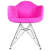 eModern Decor Velvet Fabric Arm Chair with Steel Legs
