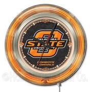 Holland Bar Stool NCAA 15'' Double Neon Ring Logo Wall Clock; Oklahoma State