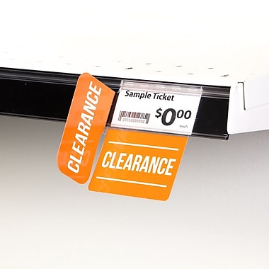 KostklipMD (S529-107211) – Coll. signature « Clearance », pancarte à angle droit ShelfTalkerMC, 1,25x2,5 po, 2/2, 25/paq.