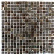 Abolos 0.63'' x 0.63'' Glass and Quartz Mosaic Tile in Cioccolato