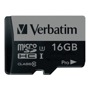 Verbatim® 47040 Pro UHS-I U3 Class 10 16GB microSDHC Memory Card with Adapter