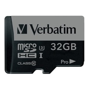 Verbatim® 47041 Pro UHS-I U3 Class 10 32GB microSDHC Memory Card with Adapter