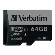 Verbatim® 47042 Pro UHS-I U3 Class 10 64GB microSDHC Memory Card with Adapter