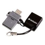 Verbatim® Store 'n' Go Dual 32GB USB 2.0/Micro-USB Flash Drive, Black/Silver (99139)
