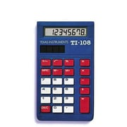 Texas Instruments TI-108 Elementary Calculator, Blue/Red/White