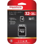 Gigastone GS-2IN1C1032G-R Class 10/UHS-I 32GB microSDHC Memory Card 2-in-1 Kit