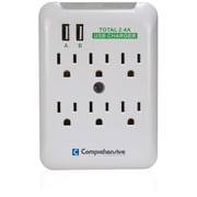 Comprehensive® CPWR-SP6-USB2 6 Outlet 540 Joules Surge Suppressor
