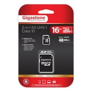 Gigastone GS-2IN1C1016G-R Class 10/UHS-I 16GB microSDHC Memory Card 2-in-1 Kit