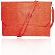 "Fabrique Orange Faux Leather Shoulder Strap Case Back Pocket Sleeve For 13"" Laptop"