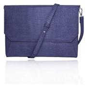 """Fabrique Blue Faux Leather Shoulder Strap Case Back Pocket Sleeve For 13"""" Laptop"""