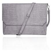 "Fabrique Gray Faux Leather Shoulder Strap Case Back Pocket Sleeve For 13"" Laptop"