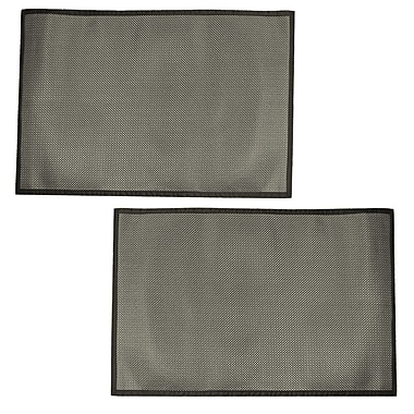Cathay Importers Black and Silver Woven Vinyl Floor Mat, 4' x 6', 2/Pack