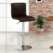 Hokku Designs Felicity Adjustable Height Swivel Bar Stool with Cushion; Dark Brown