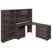 Bush Furniture Cabot Collection Corner Desk with Hutch, Lateral File and 5 Shelf Bookcase, Heather Gray (CAB009HRG)