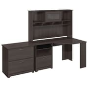 Bush Furniture Cabot Collection Corner Desk with Hutch and Lateral File, Heather Gray (CAB007HRG)