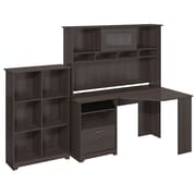 Bush Furniture Cabot Collection Corner Desk with Hutch and 6 Cube Bookcase, Heather Gray (CAB006HRG)