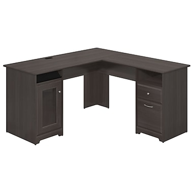 Bush Furniture Cabot Collection 60w L Desk Heather Grey