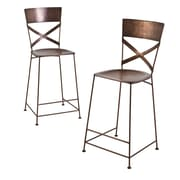 Wildon Home   X- Back Counter Stool (Set of 2); Copper