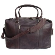 Piel 20'' Leather European Carry-On Duffel; Chocolate
