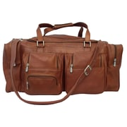 Piel Traveler 24'' Leather Travel Duffel with Pockets; Saddle