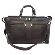 Piel Traveler 19'' Leather Travel Duffel with Pockets; Chocolate