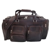 Piel 20'' Leather Carry-On Duffel with Pockets; Chocolate