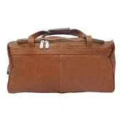 Piel Blushing Red Leather 17'' Small Travel Duffel; Saddle